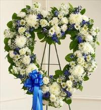 Blue and White Open Heart by Cremation Funeral Flowers.com
