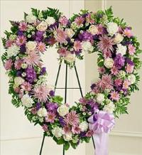 Lavender and White Open Heart by Cremation Funeral Flowers.com