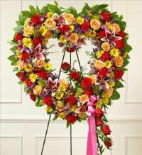 Bright Standing Open Heart by Cremation Funeral Flowers.com
