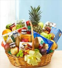 Deluxe Fruit and Gourmet Basket for Sympathy by Cremation Funeral Flowers.com