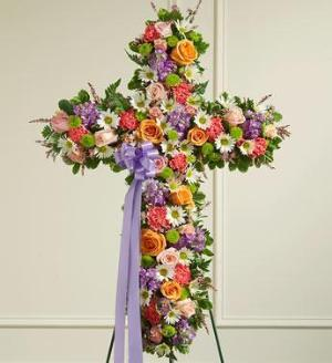 Pastel Mixed Flower Standing Cross by Cremation Funeral Flowers.com