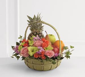 Rest in Peace Fruit & Flowers Basket by Cremation Funeral Flowers.com