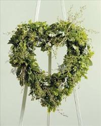 Mixed Green Open Heart by Cremation Funeral Flowers.com