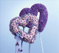 Blue and Lavender Double Heart by Cremation Funeral Flowers.com