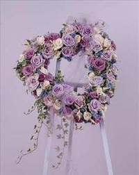 Lavender Rose Heart by Cremation Funeral Flowers.com