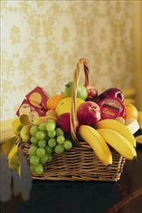 Cheese, Crackers & Fruit Basket by Cremation Funeral Flowers.com