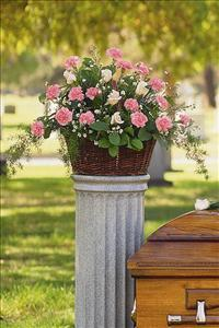Basket with Pink Flowers by Cremation Funeral Flowers.com