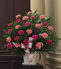 Basket with Pink Carnations by Cremation Funeral Flowers.com
