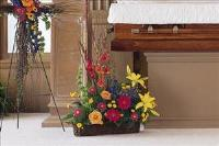 Basket with Summer Flowers by Cremation Funeral Flowers.com