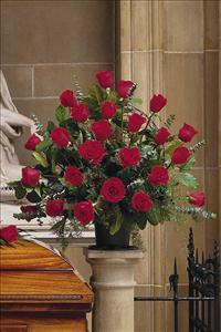Basket with 24 Red Roses by Cremation Funeral Flowers.com