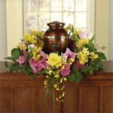 Yellow Roses, Pink Carnations & Yellow Alstroemeria Memorial Wreath for a Urn by Cremation Funeral Flowers.com