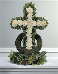White Rose-Accented Cross by Cremation Funeral Flowers.com