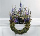 Lavender and Scaled Bent Wreath by Cremation Funeral Flowers.com
