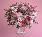 Pink and Magenta Wreath by Cremation Funeral Flowers.com