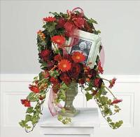 Ivy and Floral Wreath for Photo Memorial by Cremation Funeral Flowers.com