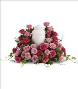 Bed of Pink Roses by Cremation Funeral Flowers.com